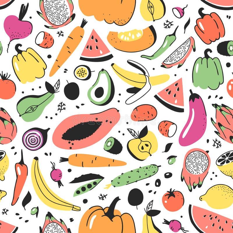 Hand getrokken naadloos patroon met vruchten en groenten Vector artistiek illustratievoedsel De papaja van de veganisttekening, p stock illustratie