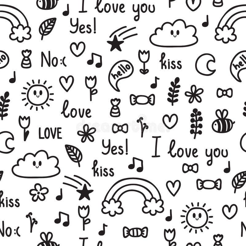 Hand getrokken naadloos patroon op liefdethema Krabbel, schets Ontwerp voor valentijnskaart en huwelijk Leuke Achtergrond royalty-vrije illustratie