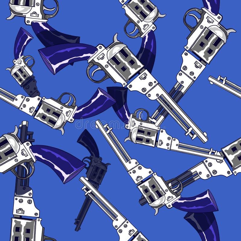 Hand getrokken naadloos patroon van pistolen stock illustratie