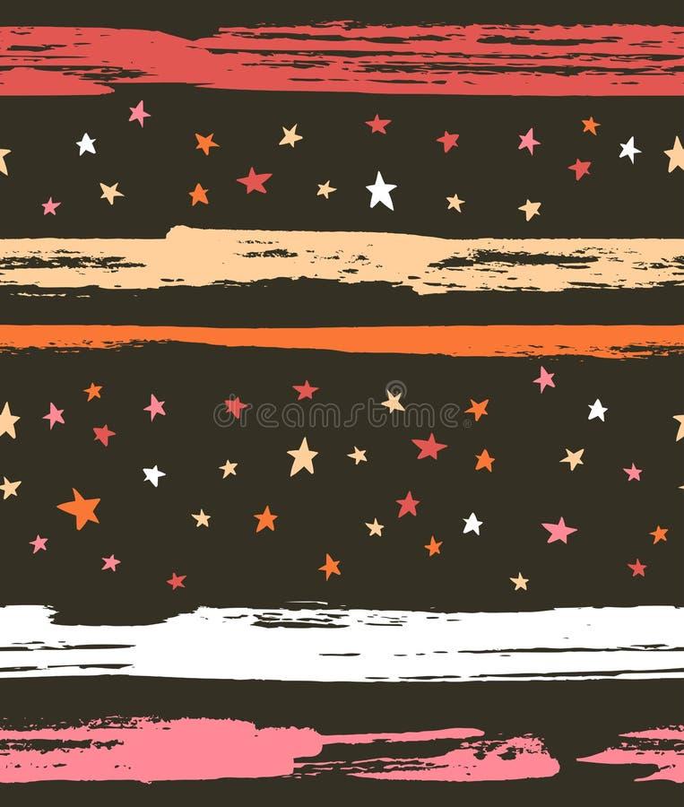 Hand getrokken naadloos patroon Vectorhipster achtergrondstreepontwerp met sterren op de nachthemel vector illustratie