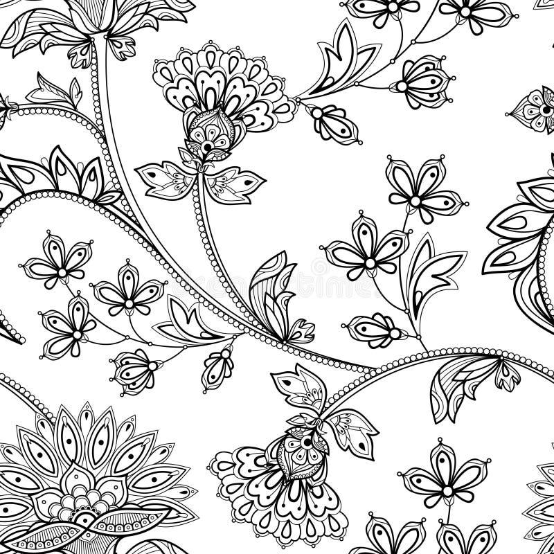 Hand getrokken Naadloos Zwart-wit Bloemenpatroon in Indische mehendi royalty-vrije stock fotografie