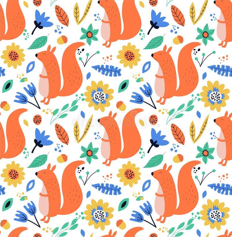 Hand getrokken naadloze achtergrond met eekhoorns, bladeren en bloemen royalty-vrije illustratie