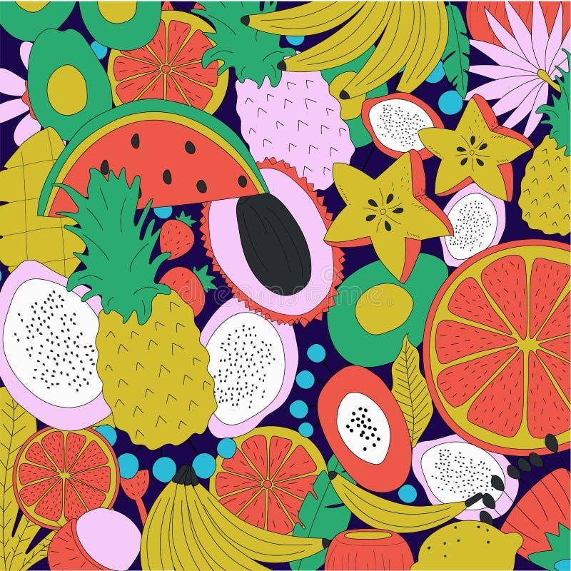 Hand getrokken naadloze achtergrond met verse vruchten en bloemen royalty-vrije illustratie