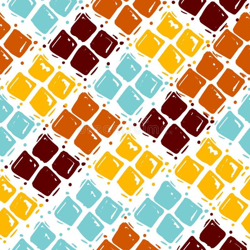 Hand getrokken naadloze Geometrische patroonvector Leuke ruitvorm krabbel tileable achtergrond, samenvatting blauwe rode sinaasap vector illustratie