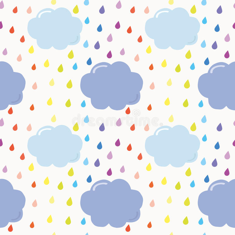 Hand getrokken naadloze patroonachtergrond met kleurrijke waterverfdalingen en wolken voor jonge geitjes vector illustratie