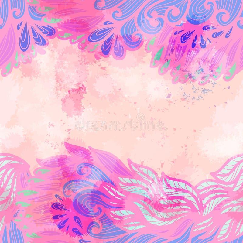 Hand getrokken naadloze roze en violette uitnodigingskaart royalty-vrije illustratie