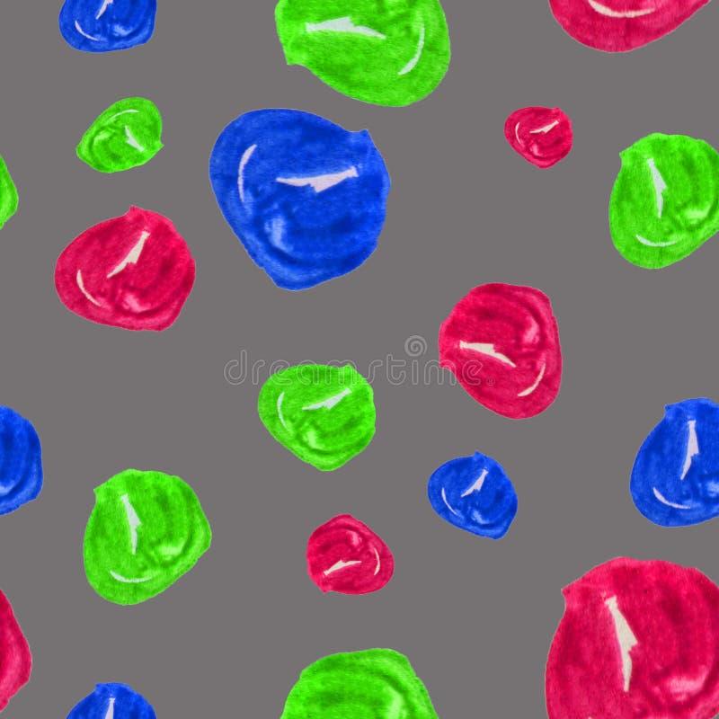 Hand getrokken naadloze waterverfillustratie als achtergrond van kleurrijke parels op grijze achtergrond Kleurrijke illustratie m vector illustratie