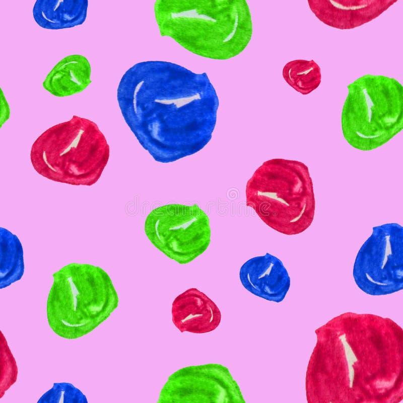 Hand getrokken naadloze waterverfillustratie als achtergrond van kleurrijke parels op heldere roze achtergrond Kleurrijke illustr royalty-vrije illustratie