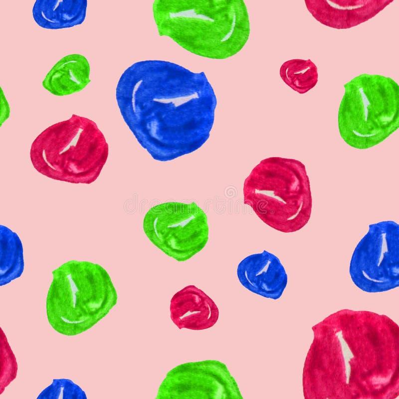 Hand getrokken naadloze waterverfillustratie als achtergrond van kleurrijke parels op pastelkleur roze achtergrond Kleurrijke ill stock illustratie
