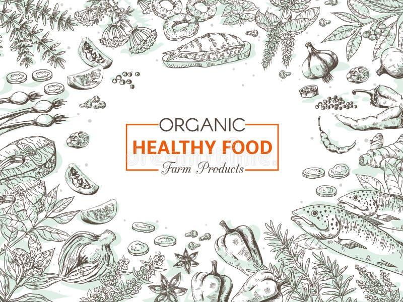 Hand getrokken natuurvoeding Gezonde groenten en kruidenachtergrond, de gastronomische uitstekende schets van het vissenmenu Vect stock illustratie