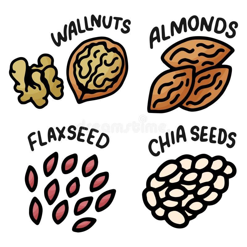 Hand getrokken notenkrabbel voor behangontwerp Witte achtergrond Aard Logo Collection Het Dieet gezond voedsel van de lijnkunst vector illustratie