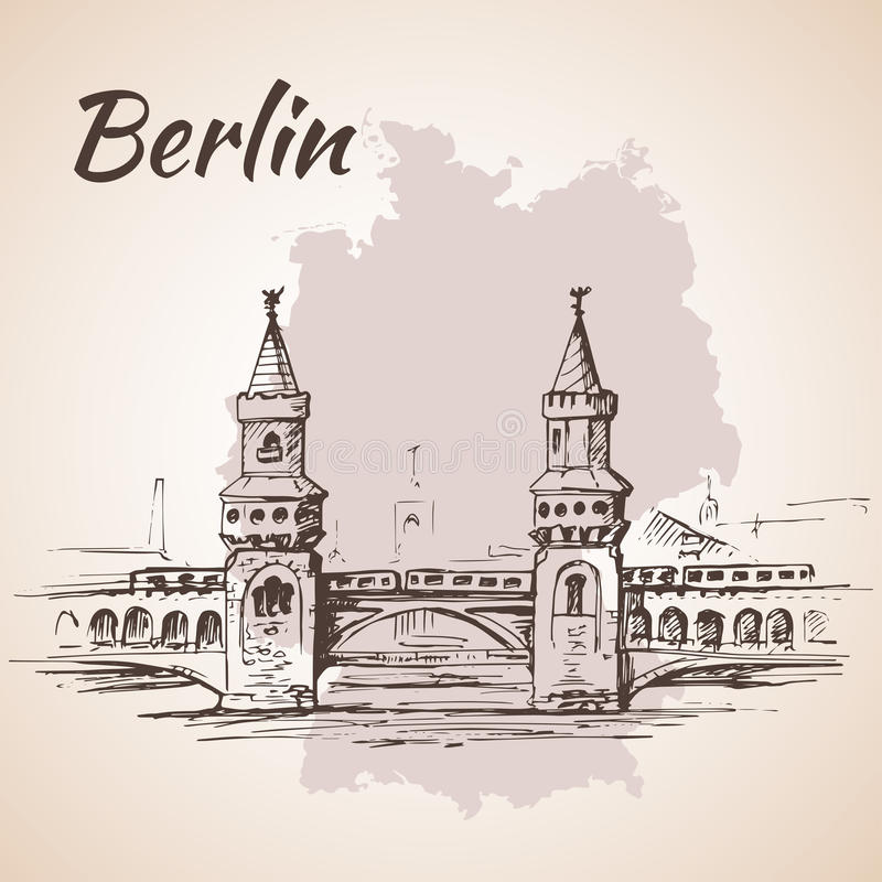 Hand getrokken Oberbaum-Brug - Berlijn, Duitsland vector illustratie