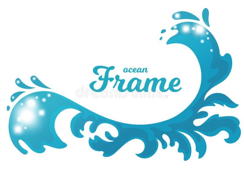 Hand getrokken oceaandiegolf als kader wordt gestileerd stock illustratie