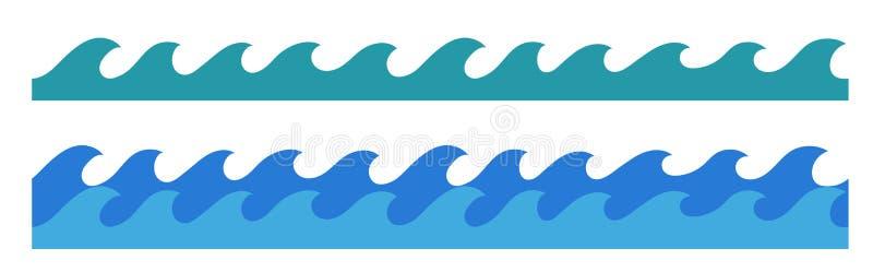 Hand getrokken oceaangolven eindeloze grens royalty-vrije illustratie