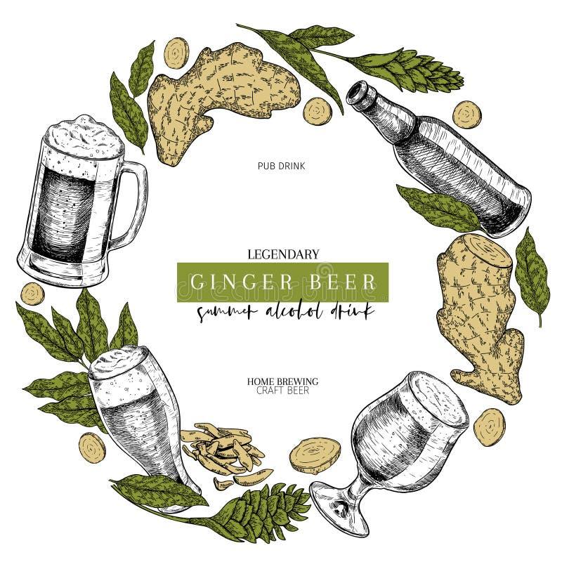 Hand getrokken Oktoberfest-baraffiche Gemberbierbier Vectorglas, fles, gesneden gemberwortel, bloem en bladeren Staaf vector illustratie
