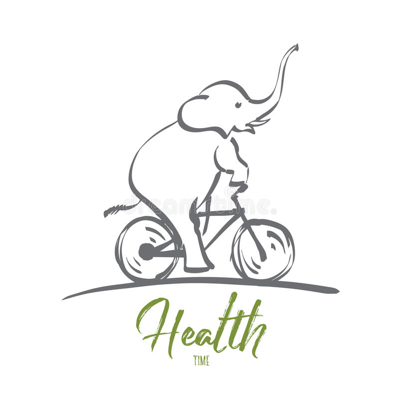 Hand getrokken olifants berijdende fiets met het van letters voorzien royalty-vrije illustratie