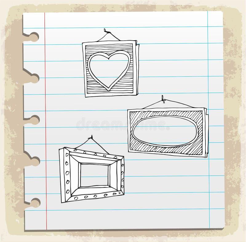 Hand getrokken omlijstingen op document nota, vectorillustratie stock illustratie
