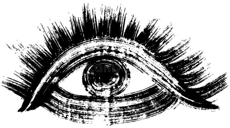 Hand getrokken oog de illustratie van de borstelslag stock illustratie