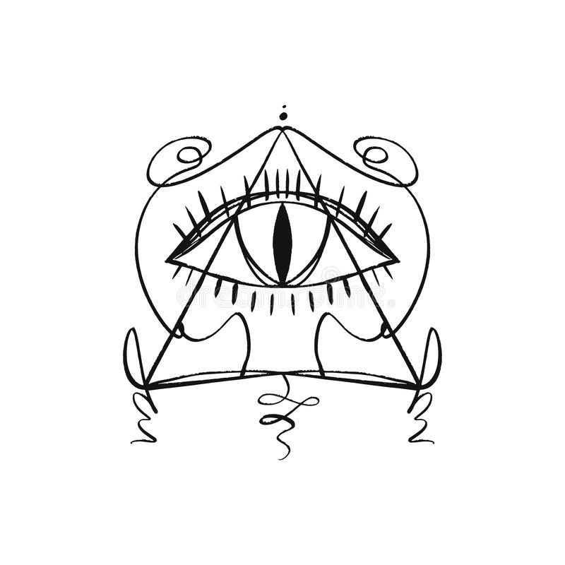 Hand getrokken Oog van Voorzienigheid gestileerd symbool Driehoekspiramide Het symbooltatoegering of sticker van de Bohoalchimie  royalty-vrije illustratie