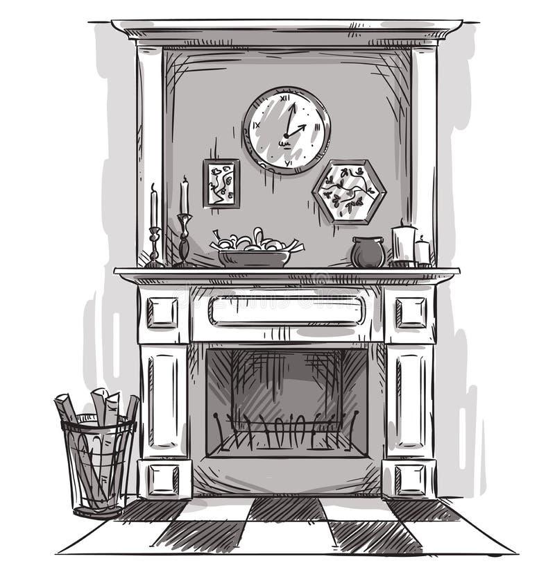 Hand getrokken open haard Een comfortabele plaats thuis stock illustratie