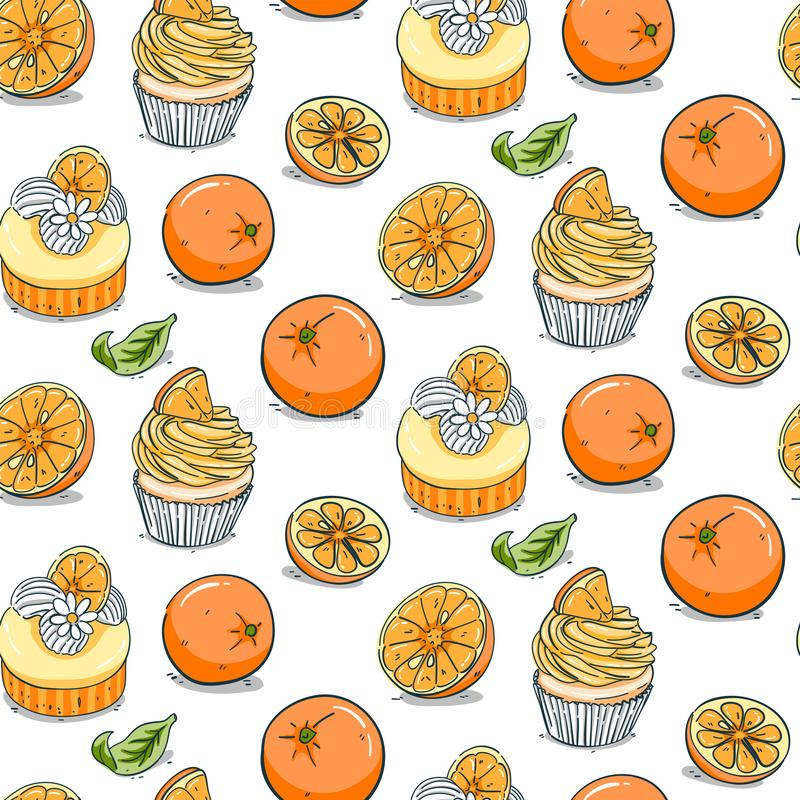 Hand getrokken oranje cupcake naadloos patroon stock illustratie