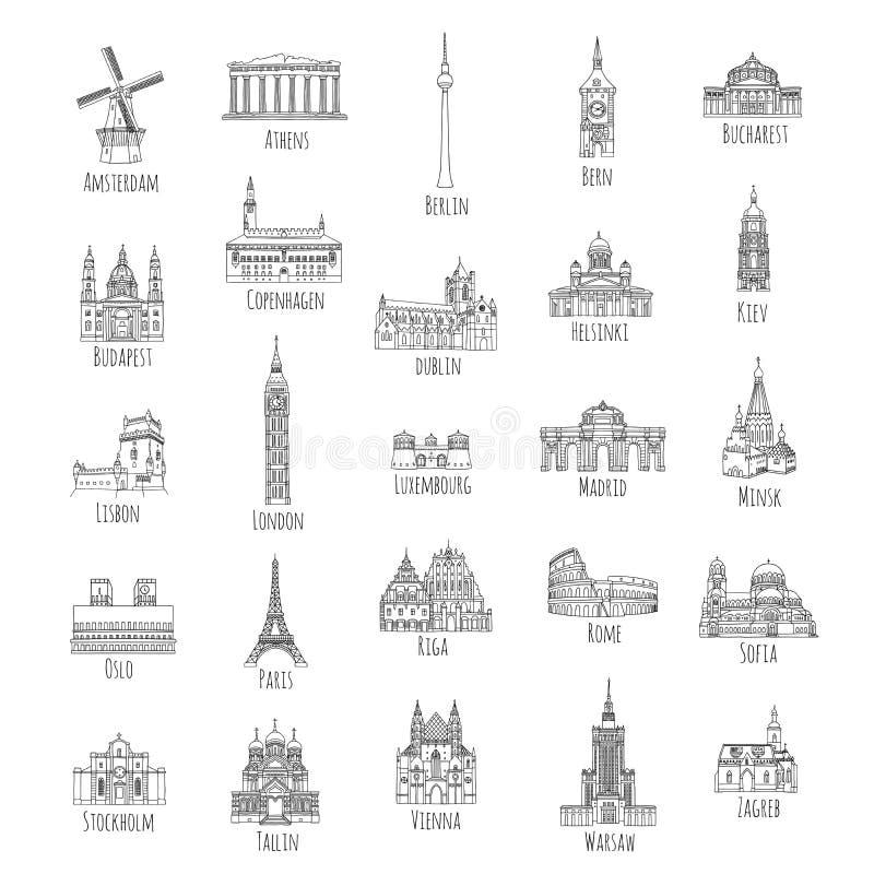 25 hand getrokken oriëntatiepunten van Europese hoofdsteden stock illustratie