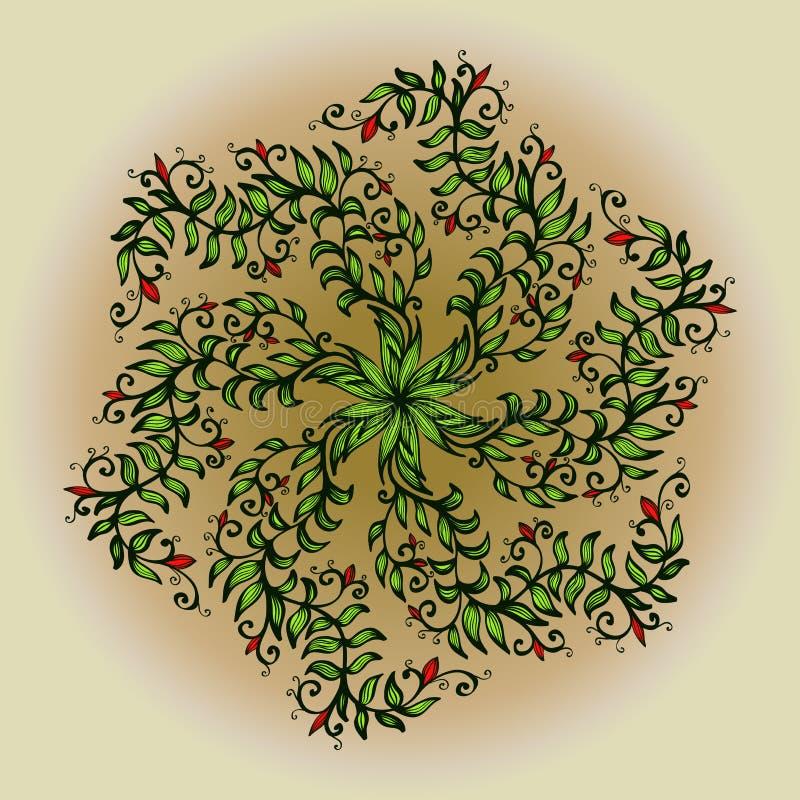 Hand getrokken ornament met bloemen vector illustratie