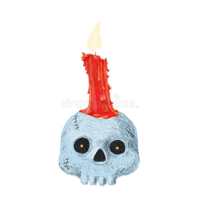 Hand getrokken oude die heksenhoed op witte achtergrond wordt geïsoleerd De tekening van het potlood Enge Halloween-inzameling stock illustratie