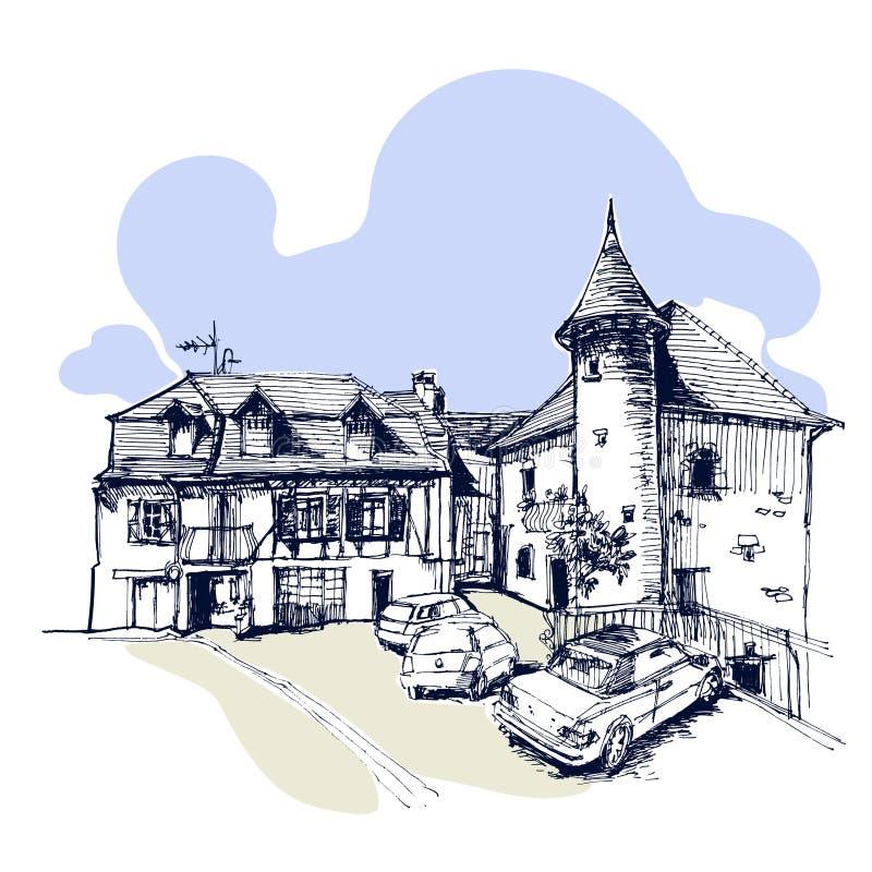 Hand getrokken oude toren met een buitenhuis en auto's, huis in de stad stedelijke schets stock illustratie