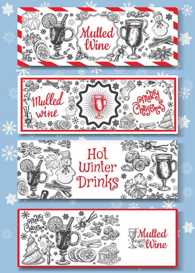 Hand getrokken overwogen geplaatste wijn vectorbanners Zwart-witte schetsaffiches met wijnglas Het ontwerpmalplaatjes van menukaa royalty-vrije illustratie