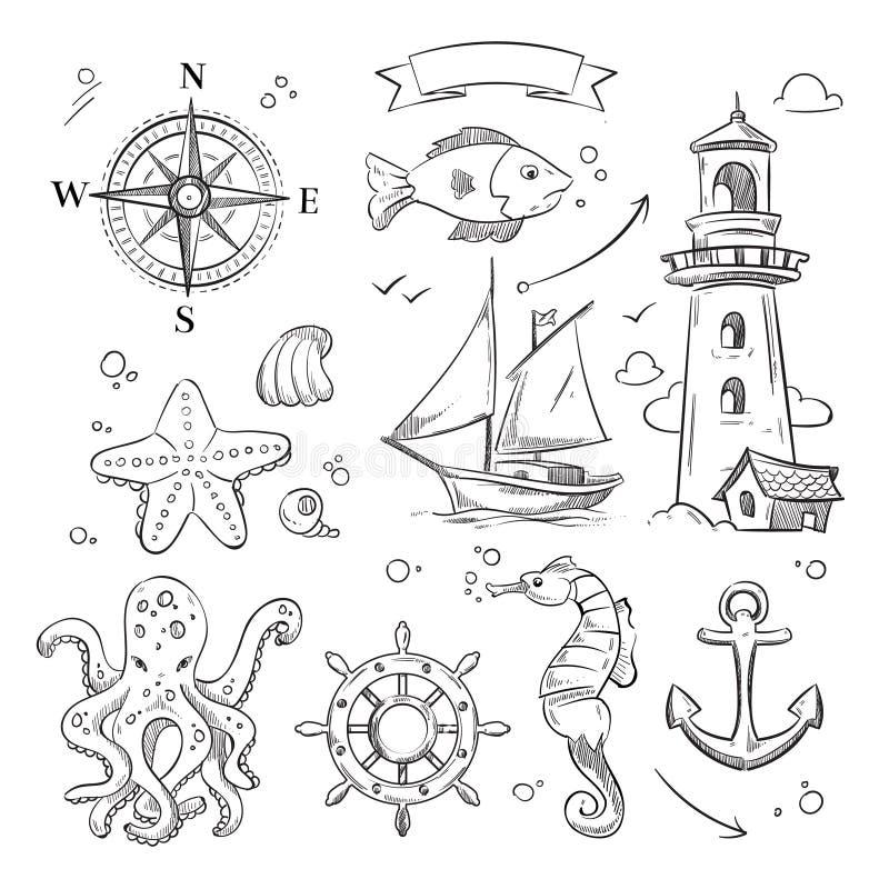 Hand getrokken overzees, mariene voorwerpen en oceaandieren vectorreeks stock illustratie