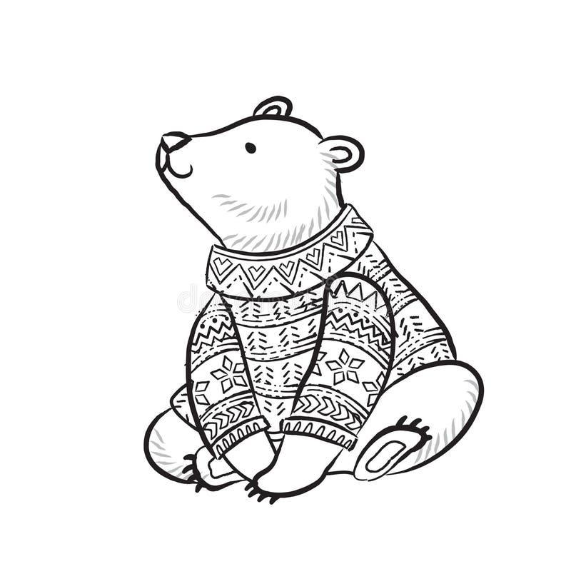Hand getrokken overzichtsdruk met ijsbeer in de wintersweater royalty-vrije illustratie