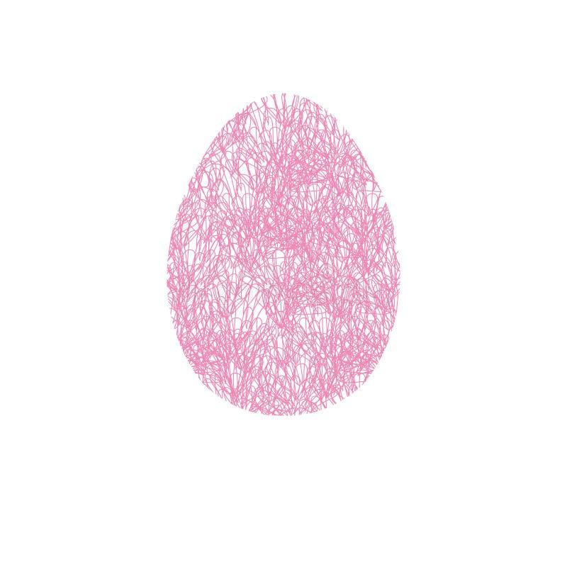 Hand getrokken paasei met netto patroon Ontwerpelement voor kaart, vector illustratie