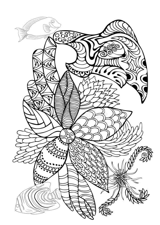 Hand getrokken pagina in zendoodlestijl voor volwassen kleurend boek Abst stock illustratie