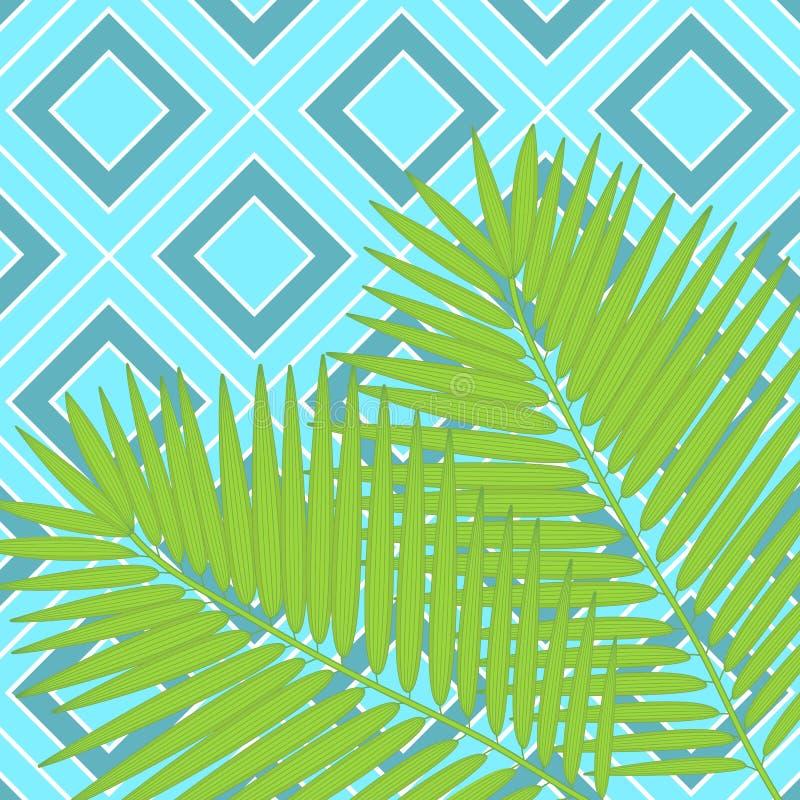 In hand getrokken patroon met kleurrijk banaanblad getrokken overzicht op geometrische blauwe en witte achtergrond tropisch royalty-vrije illustratie