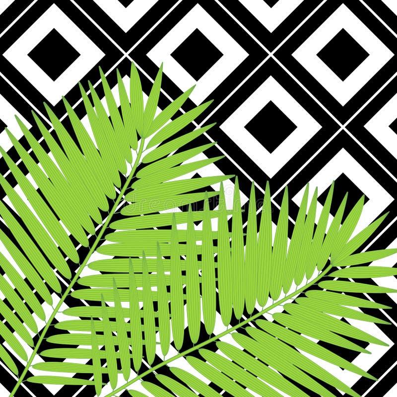 In hand getrokken patroon met kleurrijk banaanblad getrokken overzicht op geometrische zwart-witte achtergrond tropisch stock illustratie
