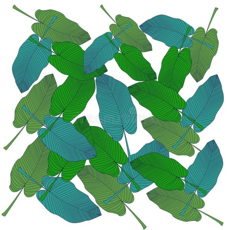 In hand getrokken patroon met kleurrijk banaanblad getrokken overzicht op witte achtergrond Tropische bladeren, wildernispatroon stock illustratie