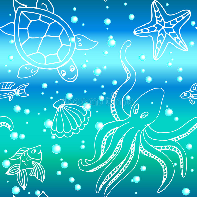 Hand getrokken patroon met verschillende overzeese schepselen stock illustratie