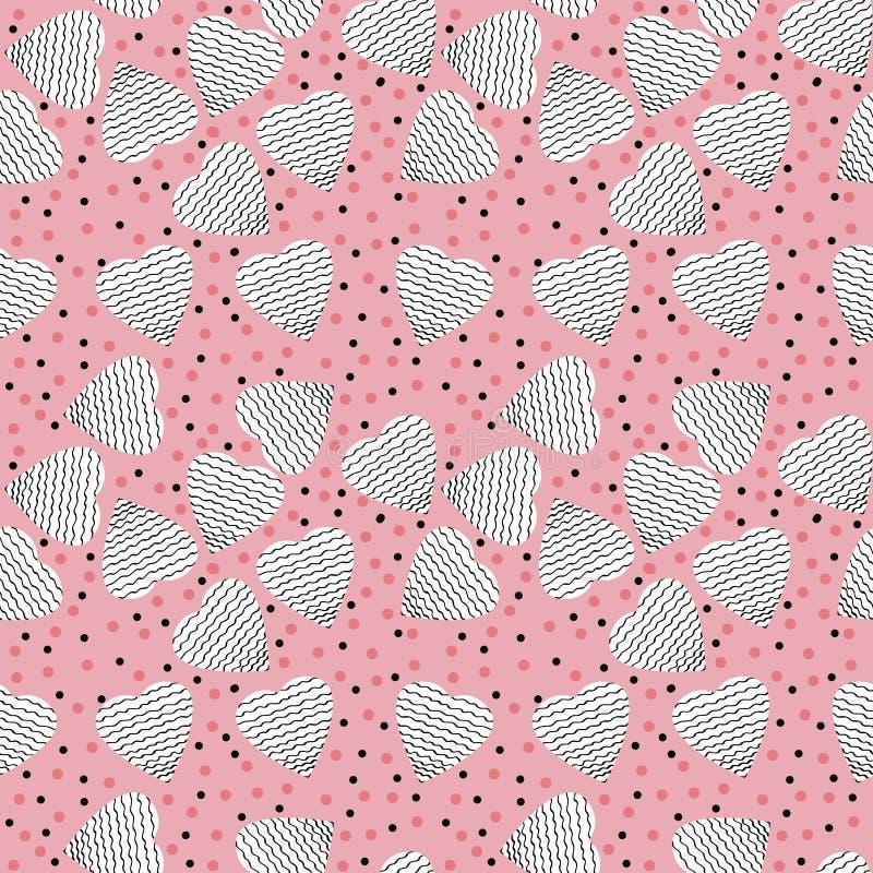 Hand getrokken patroon naadloos met grafische harten en cirkel voor Kerstmis, de dag van Valentine, Moederdag of huwelijken royalty-vrije illustratie