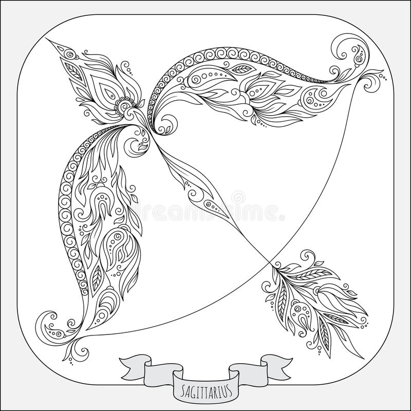 Hand getrokken patroon voor het kleuren de Boogschutter van de boekdierenriem royalty-vrije illustratie