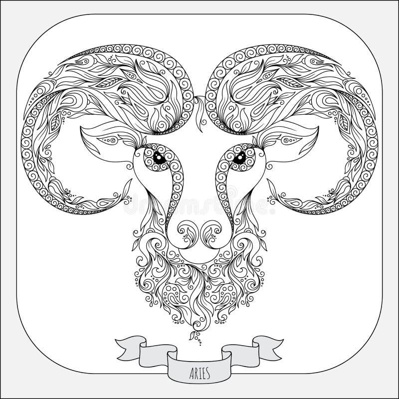 Hand getrokken patroon voor het kleuren van de Ram van de boekdierenriem stock illustratie