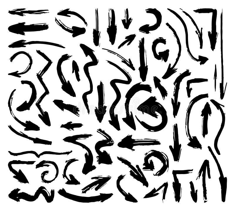 Hand getrokken penseel vectorpijlen Grungepijl op wit wordt geplaatst dat vector illustratie