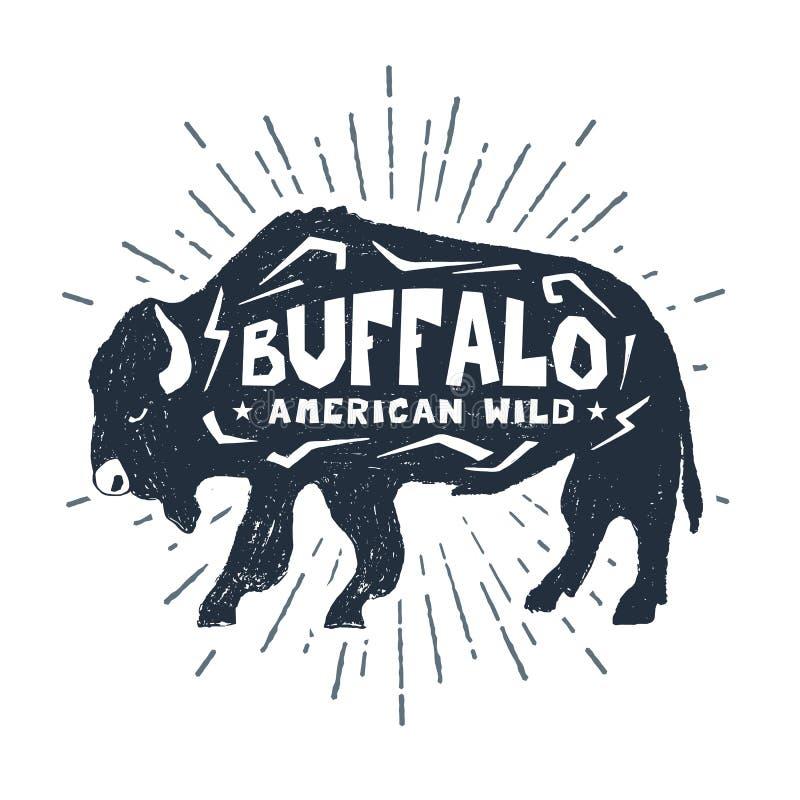 Hand getrokken pictogram met geweven buffels vectorillustratie stock illustratie
