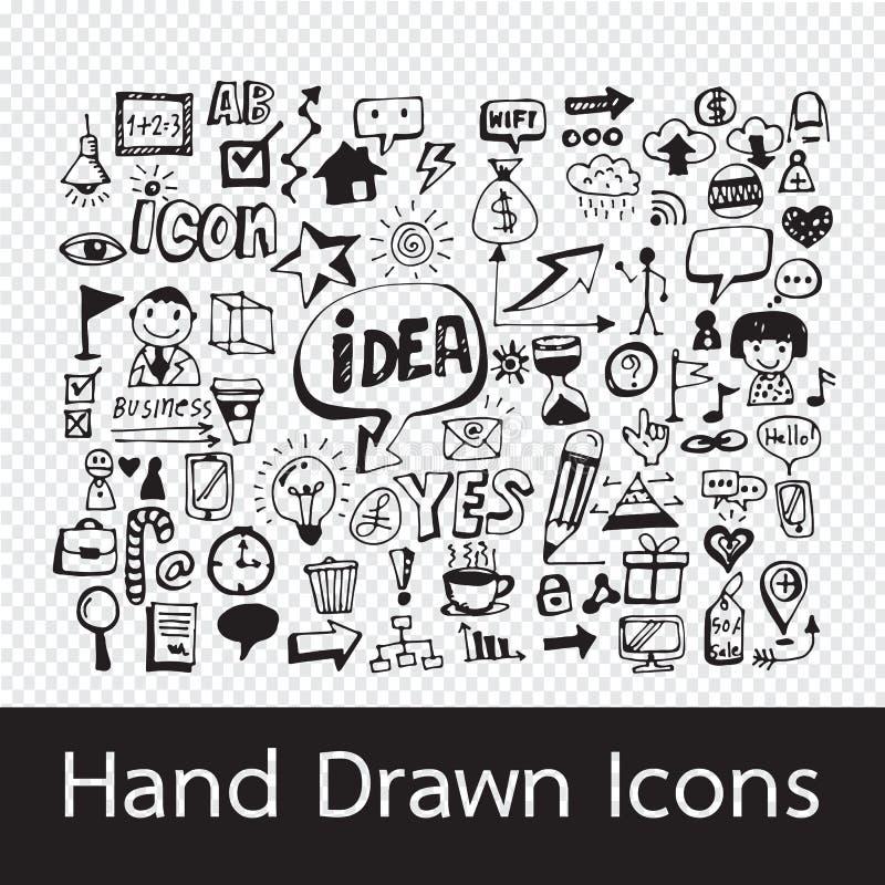 Hand getrokken pictogrammen stock illustratie