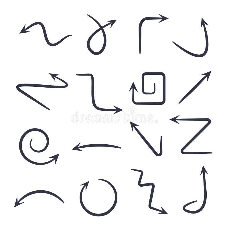 Hand getrokken pijlen Vectorhand getrokken pijlen geplaatst die op wit worden ge?soleerd stock illustratie