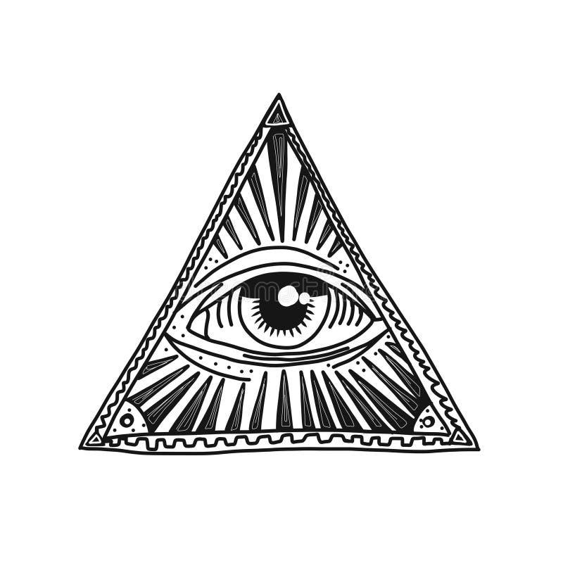 Hand getrokken piramide en oog royalty-vrije illustratie