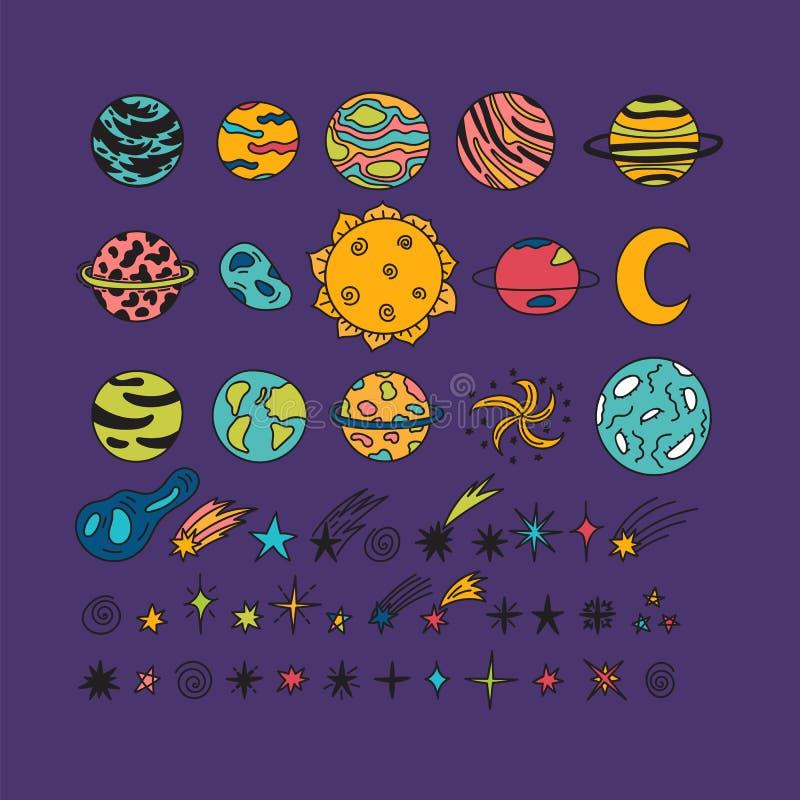 Hand getrokken planeten, sterren, asteroïden en andere ruimtevoorwerpen royalty-vrije illustratie