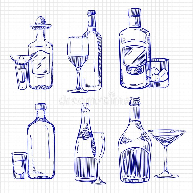 Hand getrokken populaire dranken - de alcoholflessen en glazen van de ballpointschets vector illustratie