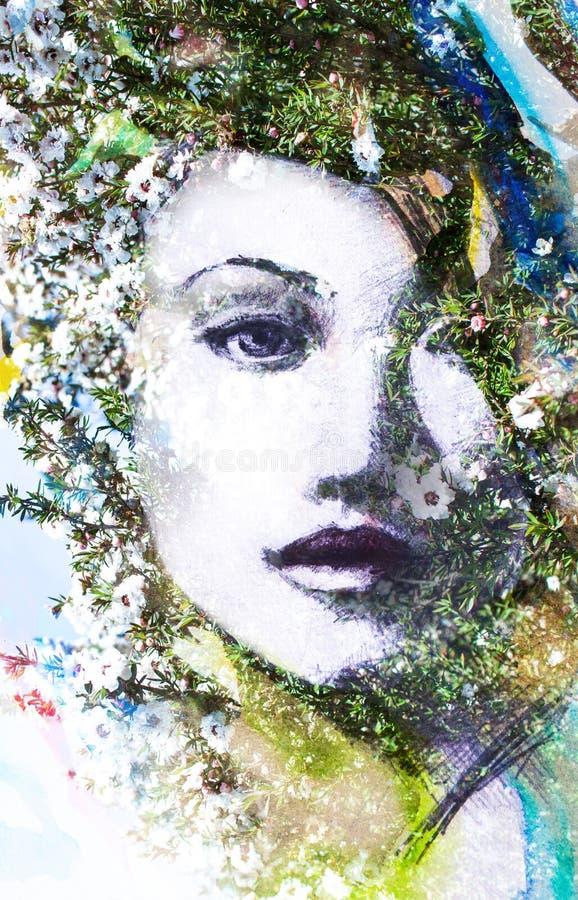 Hand getrokken portret van een mooie, aantrekkelijke dame die binnen verdwijnen royalty-vrije illustratie