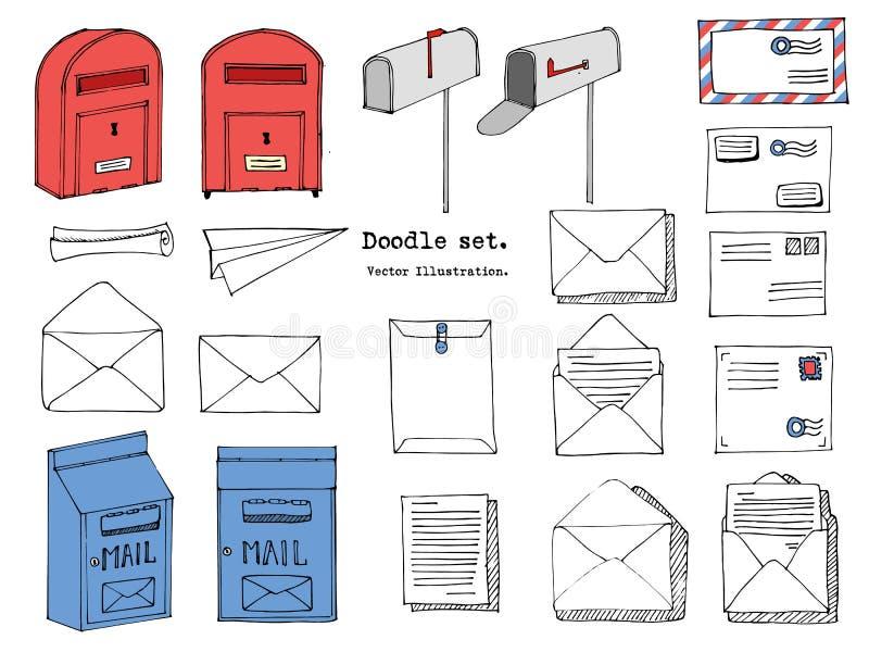 Hand getrokken post, post, brief, envelop, document de Reeks van het vliegtuigbeeldverhaal Vector illustratie Krabbel decoratieve vector illustratie